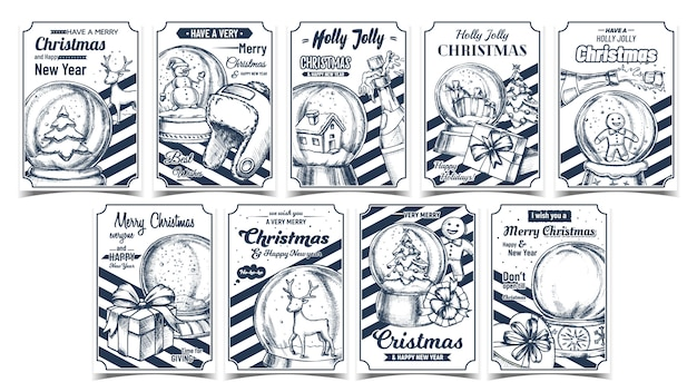 Christmas holiday advertising posters set
