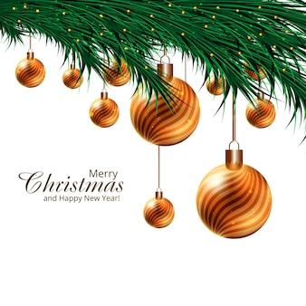 モミの木の枝のデザインの現実的な3dボールのクリスマス休暇の背景
