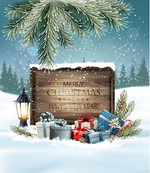Рождественский праздник фон с красочными подарками и деревянным знаком