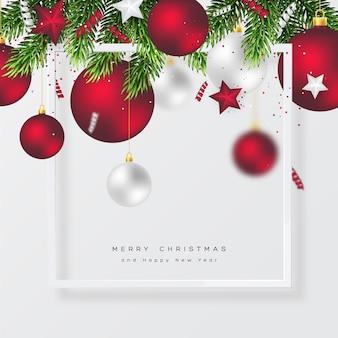 Рождественский праздник фон с безделушкой, елкой и рамкой. веселого рождества и счастливого нового года. векторная иллюстрация.