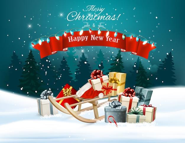 썰매와 산타 모자에 선물 크리스마스 휴일 배경. 삽화