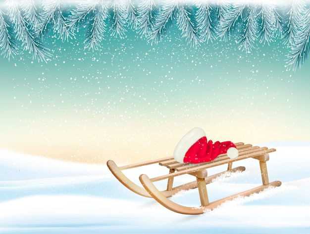 Christmas holiday background with santa hat and a sleigh