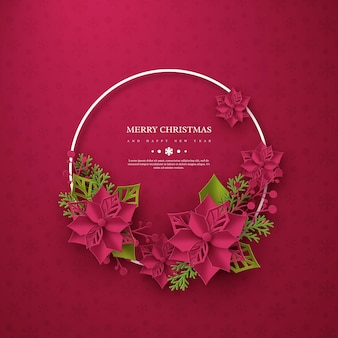 Christmas holiday banner. 3d paper cut style poinsettia with leaves. purple background with round frame and greeting text. vector illustration