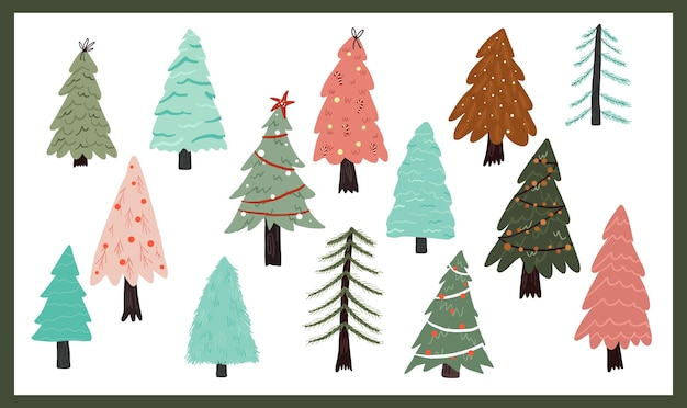Christmas holiday celebration design collection set sticker christmas tree