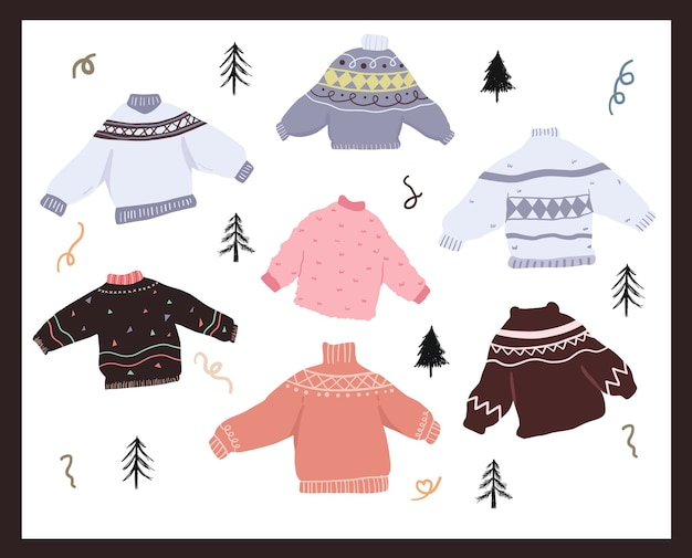 Christmas holiday celebration design collection set sticker ugly sweater doodles