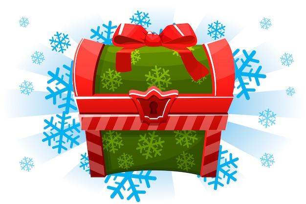 Рождественский праздник сундук в мультяшном стиле. иконка для 2d игры