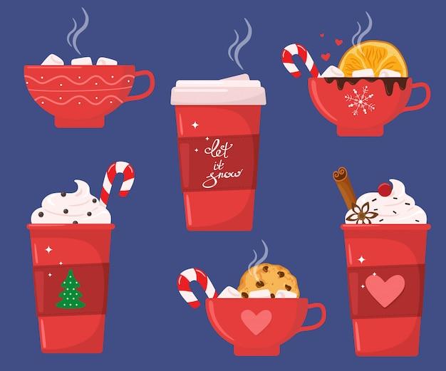 Рождественский праздник кофе или шоколадная кружка. какао с зефиром, согревающие зимние напитки. капучино и латте чашки. набор горячих напитков.