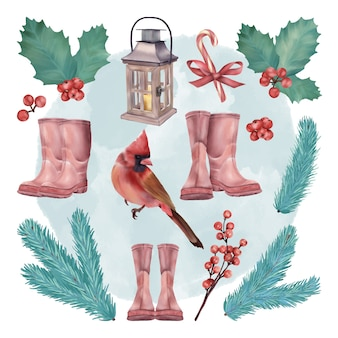 Christmas holiday decoration set with santa boots and red bird