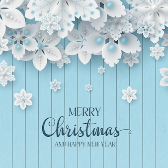Christmas holiday design. 3d decorative snowflakes with shadow and pearls on wooden texture background with greeting text. vector illustration.