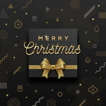 Christmas holiday design - golden greeting and glitter gold bow on a abstract christmas background.