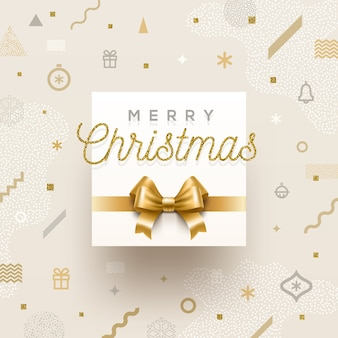 Christmas holiday design - holiday greeting with golden bowknot on a abstract christmas background.