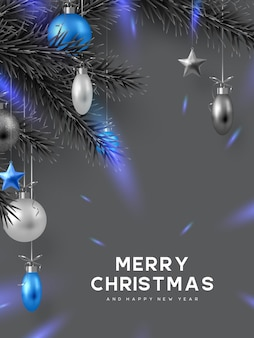 Christmas holiday design with hanging balls, pine branches and glowing lights. monochrome grey colors with blue contrast. new year vector illustration.