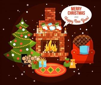 クリスマスホリデー暖炉の図