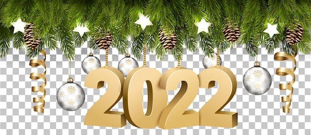 Christmas holiday frame with branches of tree garland and a golg 2022 litters on transparent background. vector.