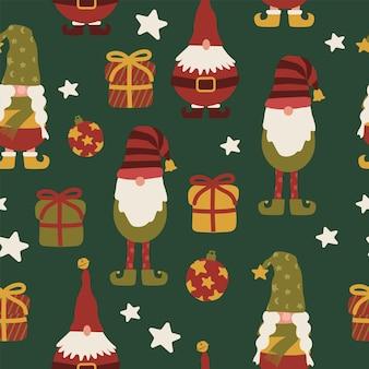 Рождественский праздник гномы эльфы и подарок бесшовные модели