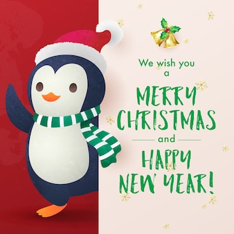 Christmas holiday greeting card with little penguin wishing merry christmas and happy new year