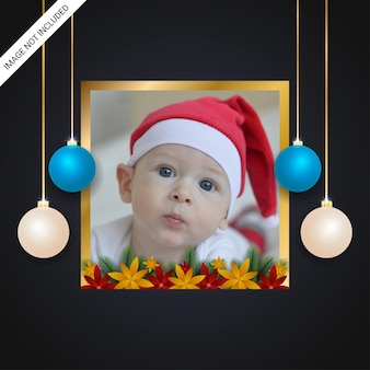 Christmas holiday greeting golden photo frame red and yellow flowers green leaf with christmas balls