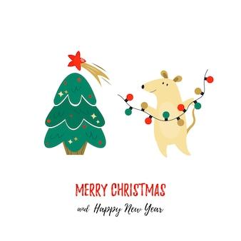 귀여운 마우스와 소나무와 함께 크리스마스 휴일 인사말입니다. 크리스마스 카드