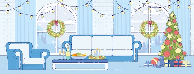 Christmas holiday home interior decor flat vector