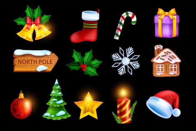 Рождественский праздник икона набор векторных игр рождественский значок комплект новогодний зимний символ золотая звезда