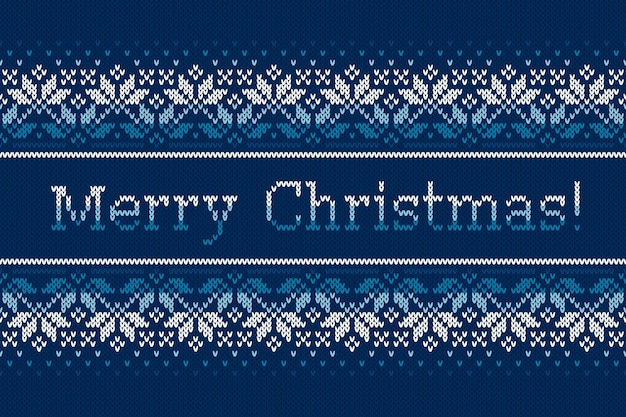 Christmas holiday knitted pattern with snowflakes and greeting text merry christmas
