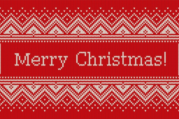 Christmas holiday knitting pattern with snowflakes and greeting text merry christmas. seamless knitted background