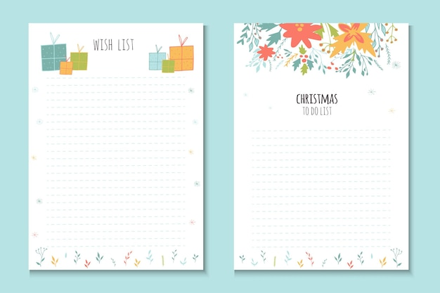 Christmas holiday to do lists, cute notes with winter vector illustrations. template for party organization, greeting and journaling cards, invitations, gifts decoration, stationery.