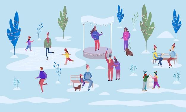 Рождественский праздник на открытом воздухе. люди катаются на коньках на катке и гуляют между украшенными деревьями. сядьте на скамейки в парке и погуляйте с собакой. красочные векторные иллюстрации в плоском мультяшном стиле.