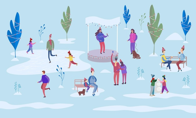 Christmas holiday outdoor. people ice skating on the rink and walking between decorated trees. sit on park benches and walk with the dog. colorful vector illustration in flat cartoon style.