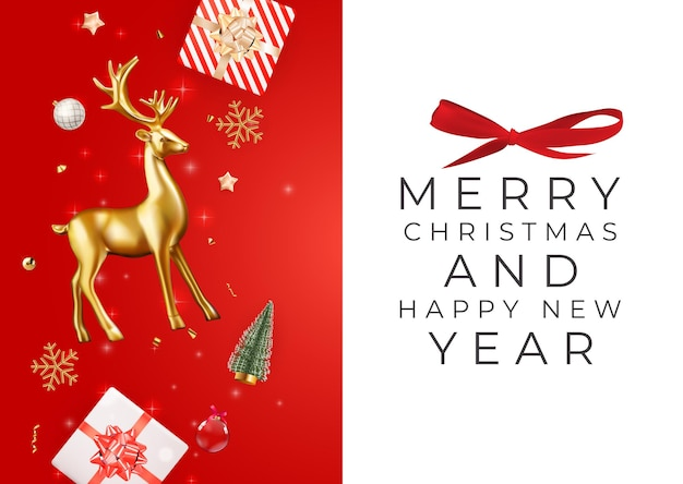 クリスマスホリデーパーティーの背景明けましておめでとうとメリークリスマスポスターテンプレート