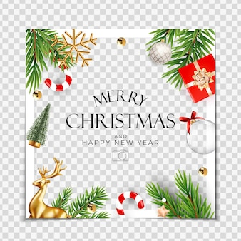 Christmas holiday party photo frame background happy new year and merry christmas poster template