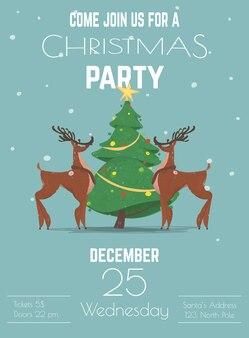 크리스마스 휴일 파티 포스터 또는 전단지 템플릿