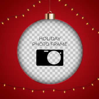 Christmas holiday photo frame template.