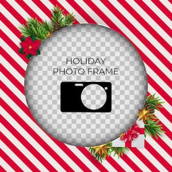Christmas holiday photo frame template.