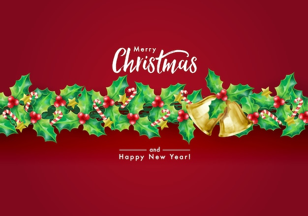 Christmas holiday's background with season wishes and border of garland decorated with holly branches, stars, candy canes and bells