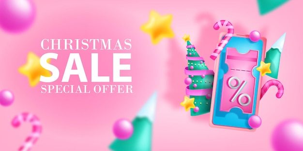 Рождественский праздник распродажа баннер вектор новогодняя скидка подарок продвижение фон рождественский ваучер