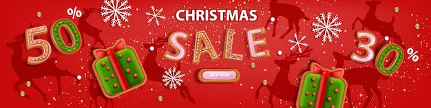 Christmas holiday sale banner vector xmas discount background winter promotional offer poster