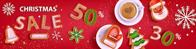 Christmas holiday sale banner vector xmas red discount background winter promotion offer poster
