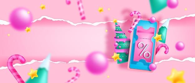 Рождественские каникулы распродажа скидка фон вектор 3d рождественский купон ваучер смартфон аннотация