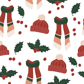 Christmas holiday scarf hat winter cozy seamless pattern for fabric linen textile and wallpaper