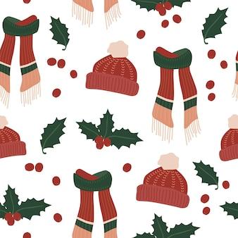 クリスマスホリデースカーフハット冬の居心地の良いシームレスパターン生地リネンテキスタイルと壁紙