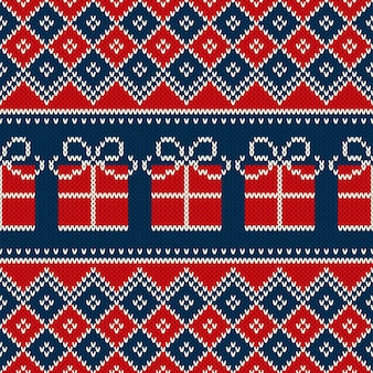 Christmas holiday seamless knitted pattern with present box. knitting wool sweater pattern design.