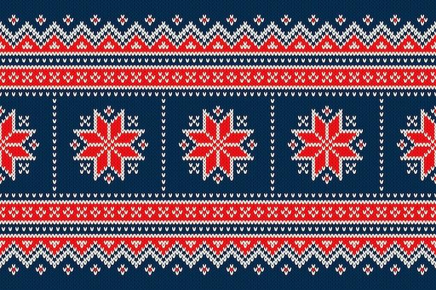 雪片とクリスマスホリデーシームレスニットパターン