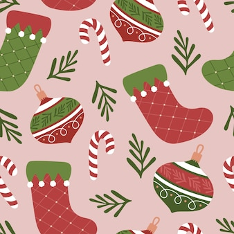 Christmas holiday seamless pattern illustration for linen fabric wallpaper and textile
