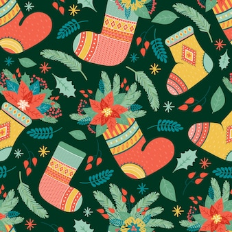 Christmas holiday seamless pattern in vector