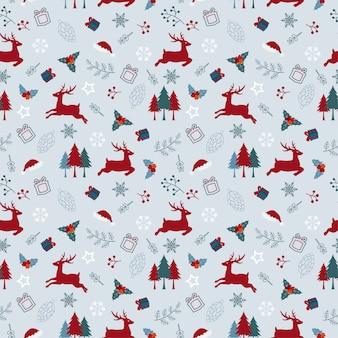 Рождественский праздник бесшовные модели с оленями и листьями в красный и синий цвет