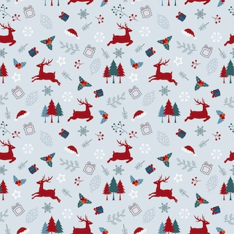 Christmas holiday seamless pattern with deers and leaves in red and blue color