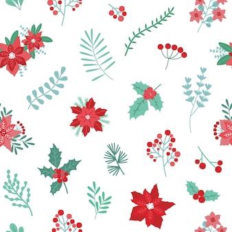 緑と赤の季節の装飾的な植物とクリスマス休暇のシームレスパターン