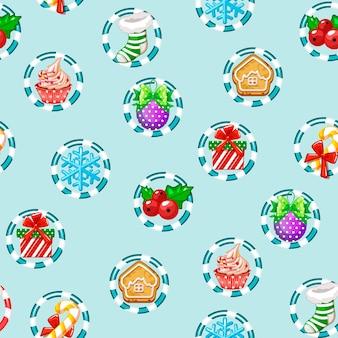 Рождественский праздник бесшовные модели с новым годом иконки. иллюстрация