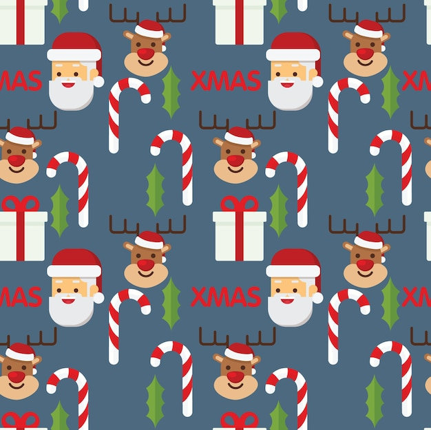 Christmas holiday seamless pattern with santa and reindeer